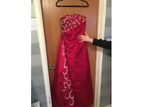 Red dress with lace detail