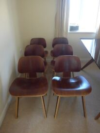 Eames DCW repro dining chairs. Walnut. Mid 20 century classic