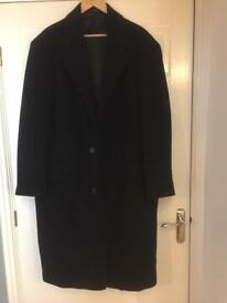 Jeff Banks Black Wool Blend with Cashmere Overcoat Size XXL