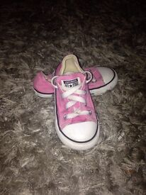 Girls pink converse trainers size 8