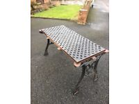 Full Cast Iron Garden Furniture Set - Table, 2 Benches, Parasol Base- COLLECTION OR DELIVERY