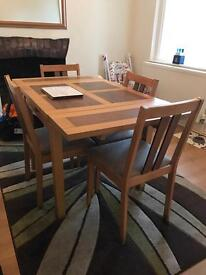 Wood Dining Table + 4 Chairs