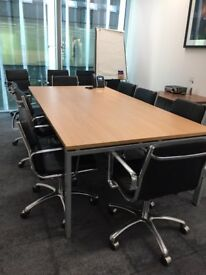 Boardroom table and chairs 240x120cm Beech with silver legs