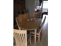 Beech effect extending table and 6 chairs