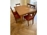 Edwardian extending dining table and 6 chairs
