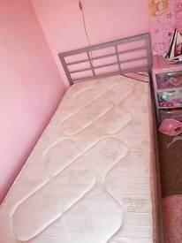 Single Metal Bed Frame &Mattress