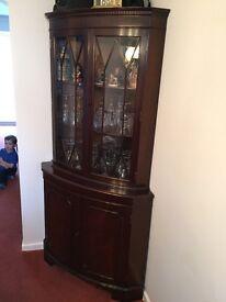 Regency style large corner cabinet