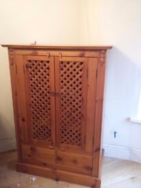 Solid Oak Cabinet With Lattice Decoration. Quick Sale Required