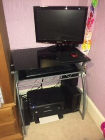 ACER Aspire PC and Black Glass Desk