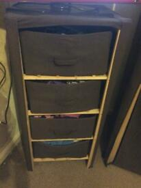 Canvas wardrobe/ chest and 2 bedside tables