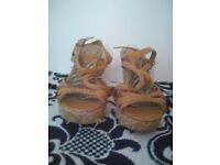 Well worn trashed womens wedge heels size 5