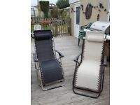 Two garden Recliner chairs