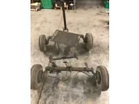 Pair of buggy Axels with brakes, draw bar and swivel plate