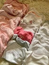 x18 100% Cotton Newborn Baby Girl Vests Bundle First Size 9lbs Up To One Month