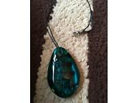 Blue/green glass stone necklace