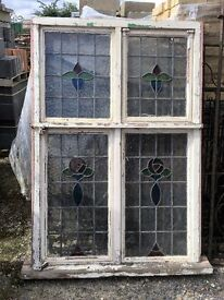 Reclaimed Stain Glass, Leaded, Wooden Frame Window with Grittal inner Frames.
