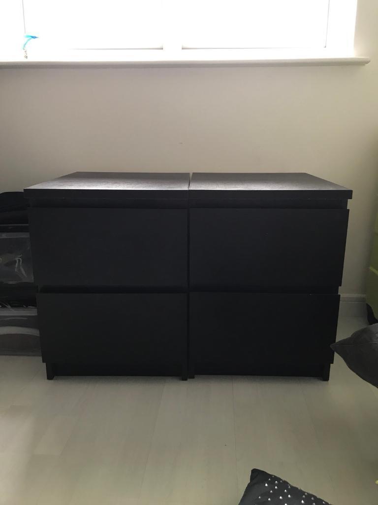Black 2 Drawer Bedside Cabinet