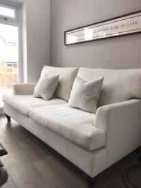 Sweetpea and Willow Luxury Linen Three Seater Alfred Cream Sofa RRP £2055