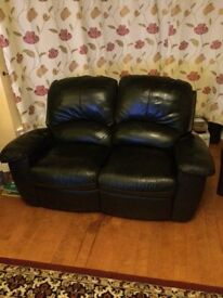 2 seater leather/leather effect recliner sofa, black