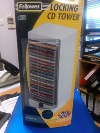 Fellowes Locking CD Tower NEW holds 20 CD's includes key