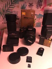 Nikon d3200 camera, flash and lens