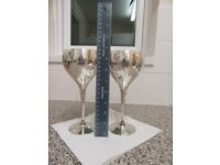 PAIR OF SILVER WINE GOBLETS