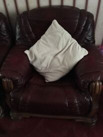 Leather 3 seater & armchair