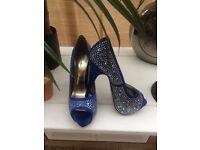Size 6 Cobalt blue peeptoe heels