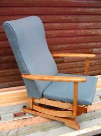 Platform rocking armchair, spring rocker chair, nursing chair mid-century 1950-60's Danish style