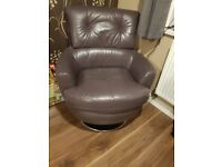 Dfs leather swivel chair. Great condition as barely used