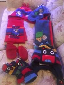 Scarfs, gloves and hats as shown approx age 1-3