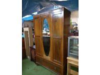 dark brown wood big solid heavy wardrobe