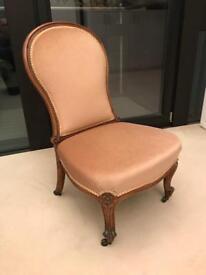 Antique upholstered nursing / hall chair