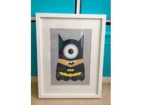 Minion Superheroes print and frame - Kids Bedroom - Superman, Batman, Iron Man + Darth Vader