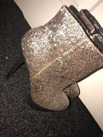 Brand New Glittery Heeled Boots Size 5