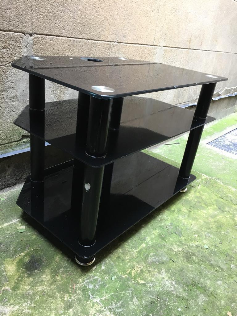 """Alphason"" Black Glass TV Stand, Top 28"" TV, 3 levels, top for up to 28""TV"