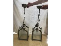 Victorian repro ceiling hall pendant light lamp. Laura Ashley. Brass effect with etched glass.