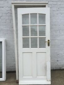 Wooden semi glazed back door & frame