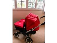 Bugaboo Donkey Red/Black double buggy + **FREE OBaby double stroller**