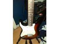 Squier left handed stratocaster and acessories