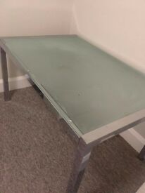 Large Family Dining Table with Glass Top and Chrome legs