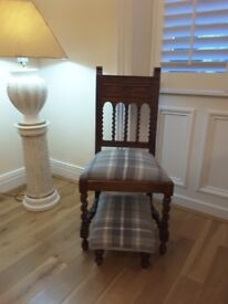 Decorative chair with matching foot stool