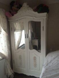 Beautiful white solid wood wardrobe