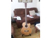 ACOUSTIC BASS GUITAR & SOFT PADDED CASE. AS NEW AND UNMARKED. JUST HAVE NO NEED FOR IT.