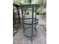 Vintage Metal Vegetable Rack with 3 circular tiers.