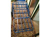 Blue Folding metal chair bed - small for under highriser bed. NO Mattress/Futon