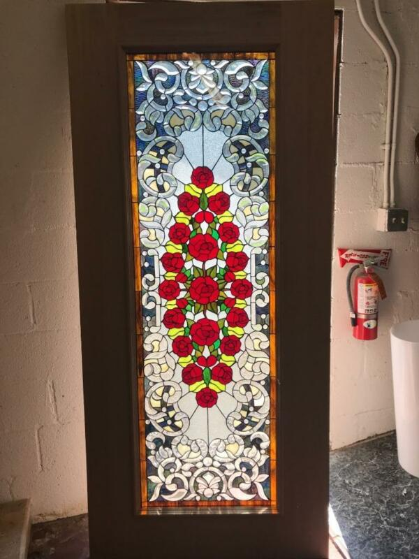 BEAUTIFUL MAHOGANY  STAINED GLASS CUSTOM ROSES ESTATE DOOR - AN7
