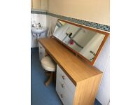 "Perfect 1960's solid 5' 1"" long bedroom dressing table with mirror & matching accessories"