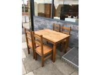 Mexican style wooden dinning and 4 chairs