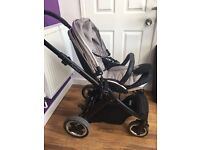 Oyster 2 travel system, raincover, net, grey colur pack + pebble maxi cosi car seat & adapters